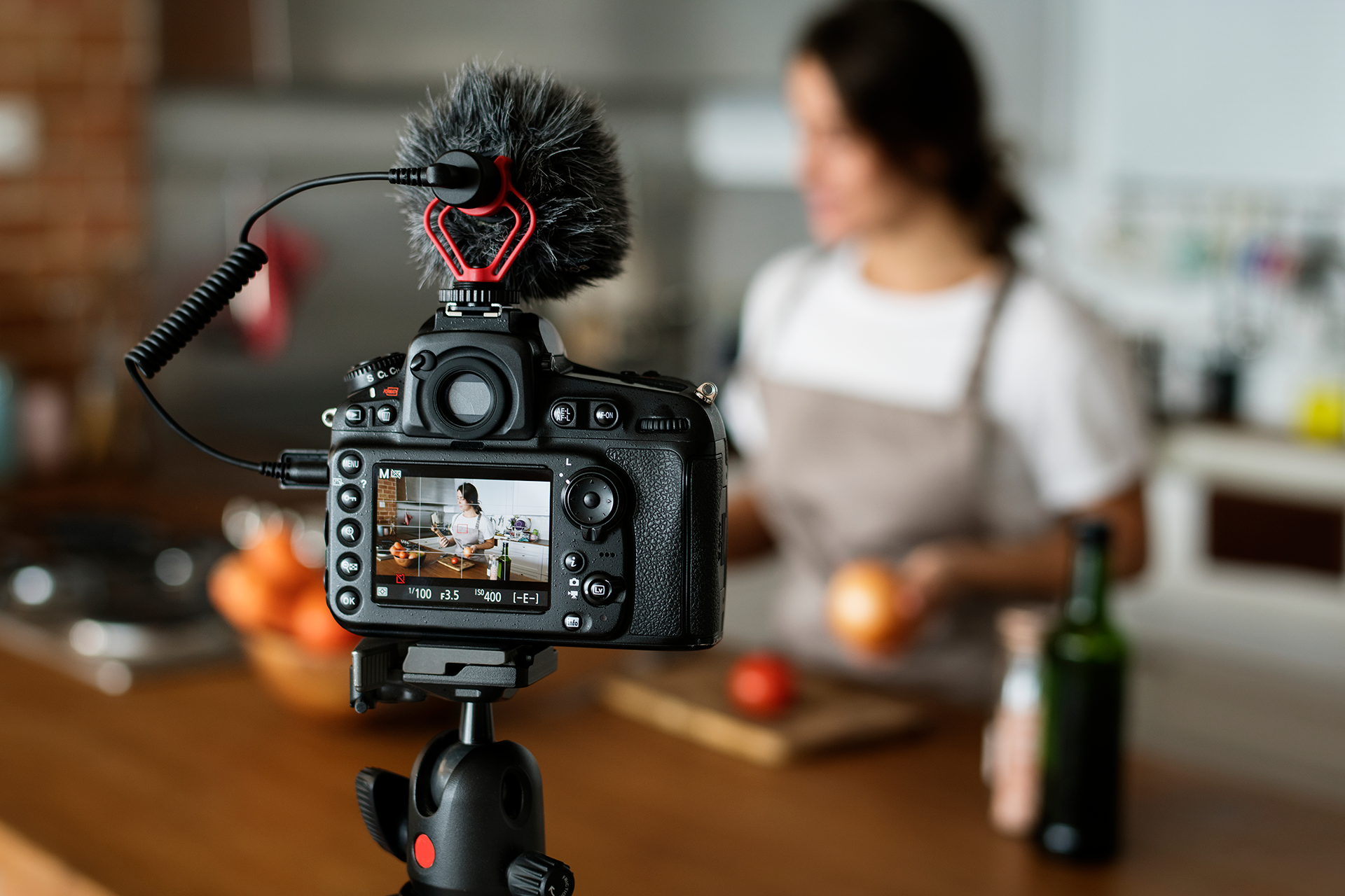 Video blogger recording a cooking show